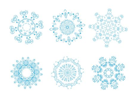 icon set of 6 different snowflakes. Set-1 photo