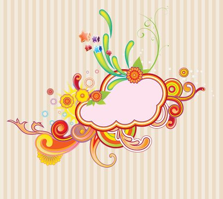 illustration of retro styled design frame made of floral and ornamental elements. illustration
