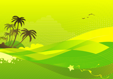 Vector illustration of abstract background with palm tree on the ocean coast Vector