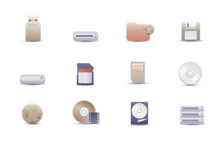 set of elegant simple icons for common storage devices photo
