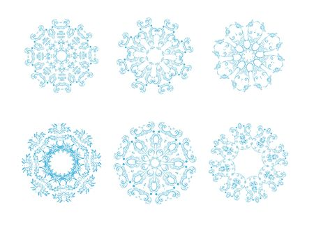 icon set of 6 different snowflakes. Set-2 photo