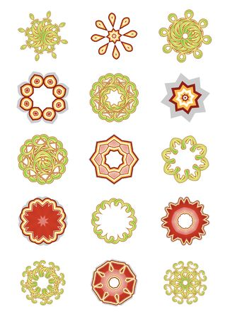set of abstract floral and organic elements photo