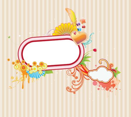 illustration of funky styled design frame made of floral elements illustration