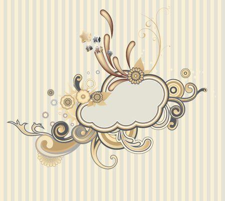 illustration of retro styled design frame made of floral and ornamental elements. Stock Illustration - 5220985