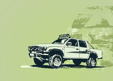 illustration of stylized vintage military vehicle on the grunge background illustration