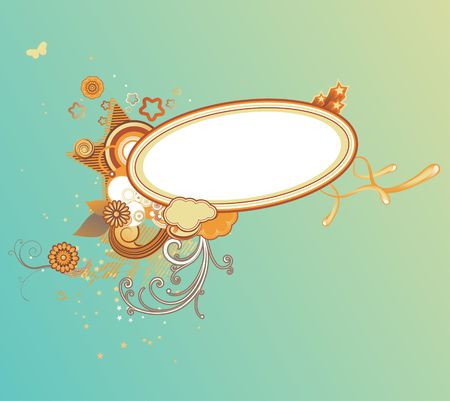 illustration of retro styled design frame made of floral elements and funky stars illustration