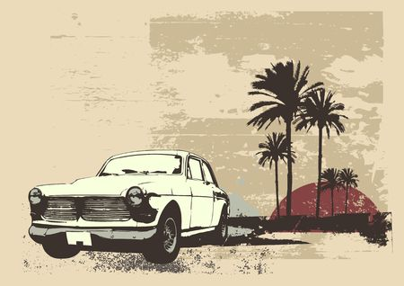 vintage car on the beach with palms and sunset photo