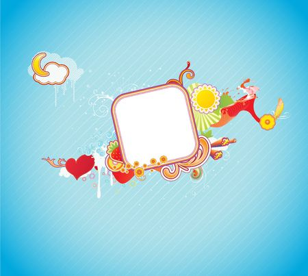 funky styled design frame made of floral and fruity elements photo