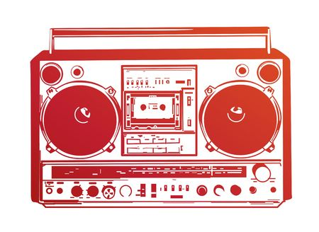 hip hop silhouette:  illustration of vintage boombox