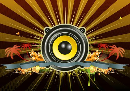 urban music scene - Speaker with star wreath, ribbon and floral elements photo