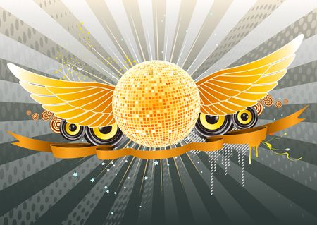 of shiny abstract party design with disco ball and ribbon photo