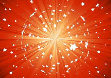 red background with light rays and burst of stars photo