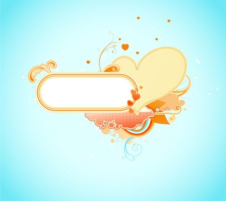 Valentines abstract background with heart shape and floral decoration elements photo
