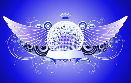 evening ball: shiny abstract party design with disco ball and ribbon
