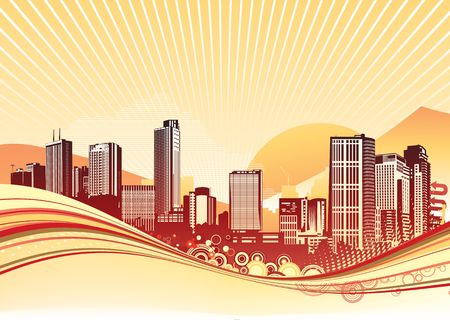 Big City. Orange urban background with abstract composition of dots and curved lines.  photo