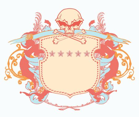 heraldic shield or badge with stylized human skull and snakes, blank so you can add your own images photo