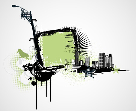 Vector illustration of urban background with Design elements over grunge stained frame. Vector