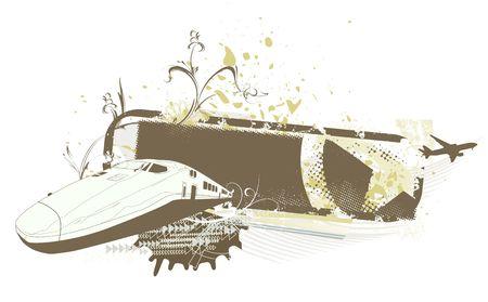 shinkansen:  grunge style urban background with train and airplane