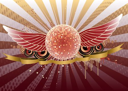 shiny abstract party design with disco ball and ribbon photo