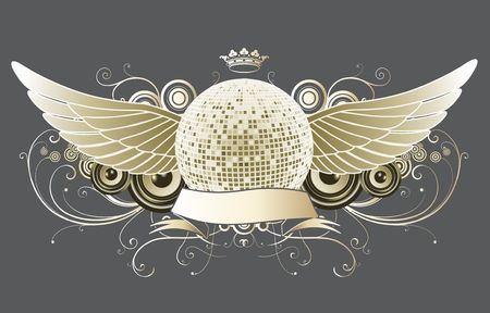 shiny abstract party design with disco ball and ribbon Stock Photo - 5257068