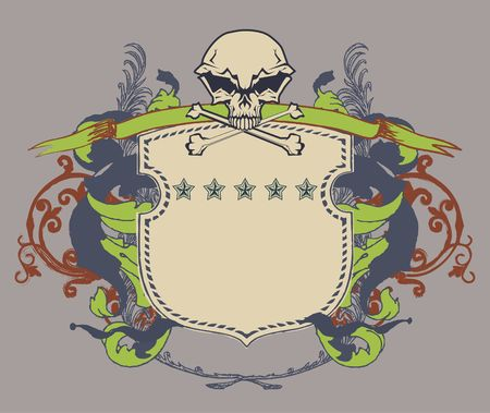 blazonry: heraldic shield or badge with stylized human skull and snakes, blank so you can add your own images