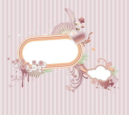 funky styled design frame made of floral elements photo