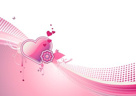 funky styled design background with heart shape and floral elements Stock Photo - 5257211
