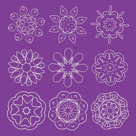 set of abstract floral and ornamental elements photo