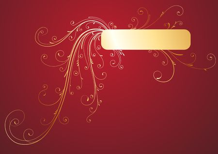 Golden Floral Decorative banner on red background photo