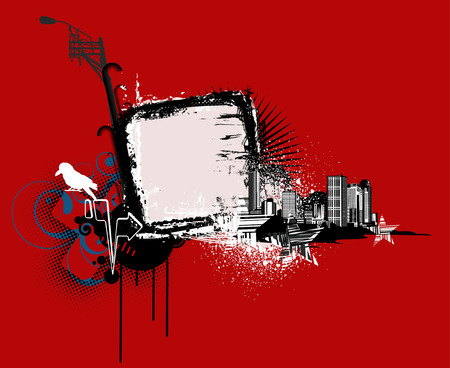 Vector illustration of red urban background with Design elements over grunge stained frame. Vector