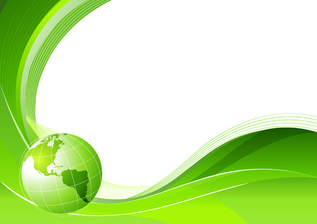 Vector illustration of green abstract lines background - composition of curved lines and globe.