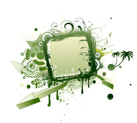 Vector illustration of urban floral background with Design elements over grunge stained frame. Vector