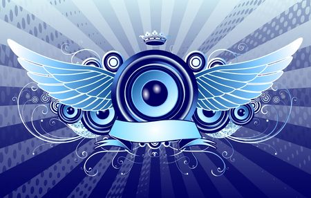 blue shiny abstract party design with speaker, crown, ribbon and floral elements photo