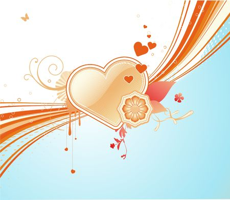 funky styled design background with heart shape and floral elements photo