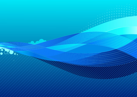 Vector illustration - abstract background made of blue splashes and curved lines Vector