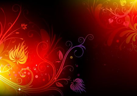 illustration of futuristic background made of shiny red floral elements illustration
