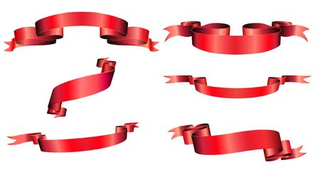 blanked: illustration of red blanked bows, ribbons and banners With Space for Text Stock Photo