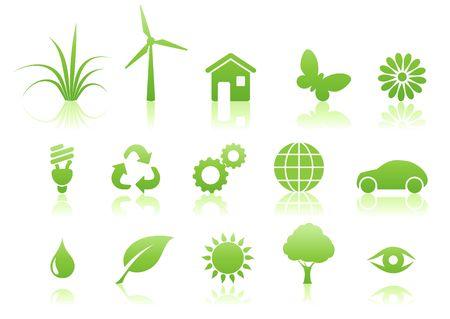 illustration of green ecology icon set illustration