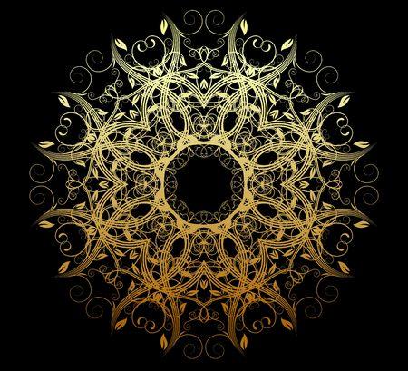 illustration of abstract golden floral and ornamental element illustration