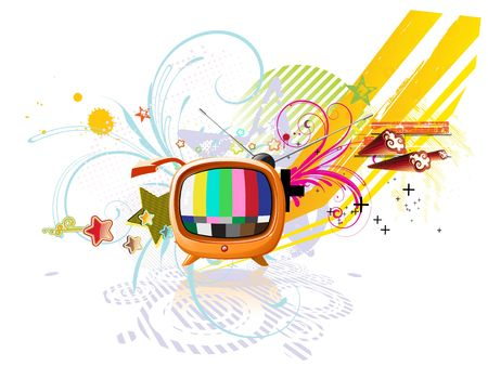 illustration of funky abstract background with cool retro TV illustration
