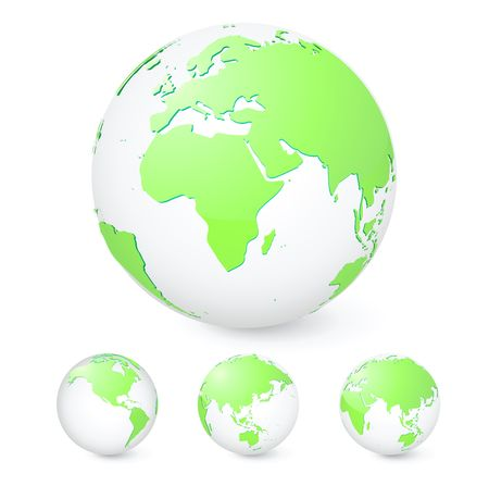 revolving: illustration set of green globes showing our planet revolving in different stages Stock Photo