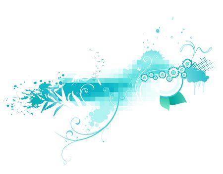 fondo azul abstracto funky hecho de figuras geométricas y elementos florales. Foto de archivo - 5268163