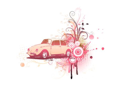 volkswagen:  old custom Volkswagen Beatle on the Grunge Floral Decorative background Stock Photo