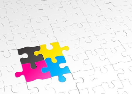 cohesive:  abstract background made of jigsaw puzzle templates with 4 pieces in different colors