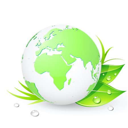 cleaning planet:  Green Earth planet (showing Europe and Africa) with leaves and water drops