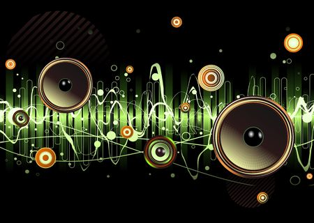 recording:  green abstract party design with urban music scene - Speakers and sound waves