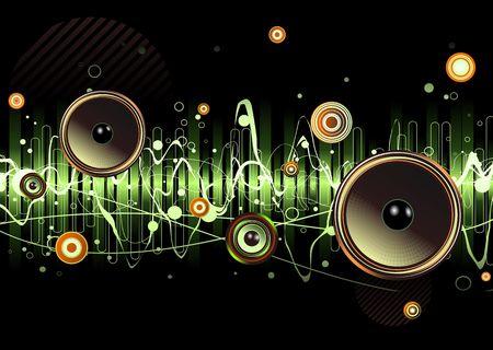 geluidsgolven: groene Abstract party design met stedelijke muziekscene - Luidsprekers en geluidsgolven Stockfoto