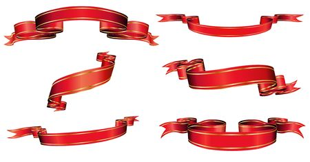 blanked: Vector illustration of red blanked bows, ribbons and banners With Space for Text