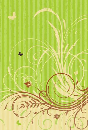 Vector illustration of green Grunge Floral Decorative background illustration