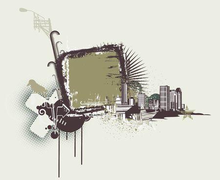Vector illustration of urban background with Design elements over grunge stained frame. illustration